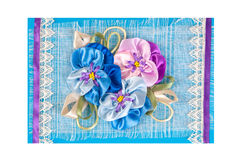Greeting card. With bunch of flowers  on blue Royalty Free Stock Image