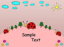 Greeting card. Cute greeting card with ladybugs stock illustration