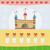 Greeting card. Cute greeting card with castle Stock Photos