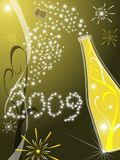 Greeting card 2009. Vector greeting card 2009 with gold background and champagne vector illustration