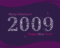 Greeting card 2009. stars Royalty Free Stock Images