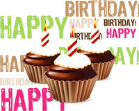 Greeting card. Birthday cupcake Greeting card,  with candle Stock Photo