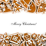 Greeting card. Christmas greeting card with sweet gingerbreads Royalty Free Stock Images
