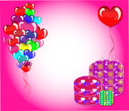 Greeting Card. With balloons and gifts Royalty Free Stock Photos