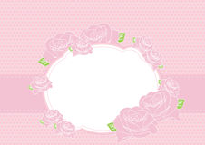 Greeting card. With pink roses illustration Stock Illustration