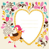 Greeting card. With bird and frame for text Royalty Free Stock Image