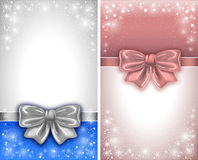 Greeting card. Festive backgrounds with silk bows and copy space Royalty Free Stock Images