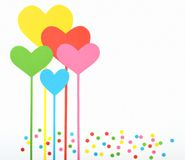 Greeting card. Heart shaped paper cut out as background for greeting card stock images