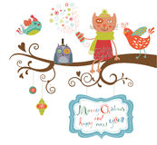 Greeting card. With funny characters Stock Photo