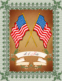 Greeting Card - 4th July. Greeting Card with Flag and Ornament royalty free illustration