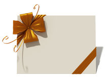 Greeting card. With golden bow Stock Photography