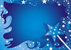 Greeting card. Illustration of Blue Greeting Card with Magic Wand Royalty Free Stock Image