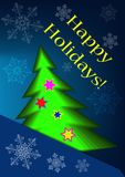 Greeting card with abstract christmas tree and snowflakes. On a blue background Royalty Free Stock Photo