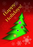 Greeting card with abstract christmas tree and snowflakes. On a red background Stock Images