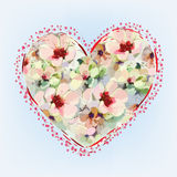 Greeting card with abstract heart with flowers Stock Photos