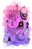 Greeting card with abstract ink drawing Stock Image