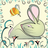 Greeting card with abstract rabbit and bee Stock Photos
