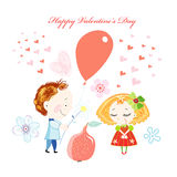 Greeting card with adoring children Stock Images