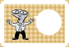 Greeting card with alien businessman. Greeting card - sarcastic meme layered vector illustration. Personalize it with your own humorous message Stock Photos