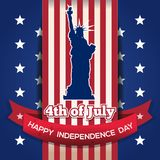 US Independence Day card. 4th of July. Greeting card with American flag and Statue of Liberty for Independence Day. Independence Day card. 4th of July. Vector Stock Photos