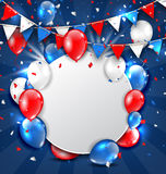 Greeting Card for American Holidays, Colorful Bunting, Balloons and Confetti Stock Images
