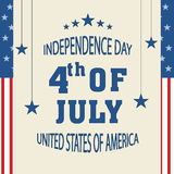 Greeting card for American Independence Day. Beautiful greeting card for 4th of July, American Independence Day celebration with hanging stars Royalty Free Stock Photography