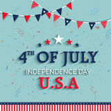 Greeting Card for American Independence Day. Elegant Greeting Card design with Stylish Text 4th of July on Flag color buntings decorated background for American Royalty Free Stock Photography