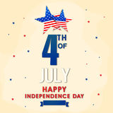 Greeting Card for American Independence Day. Elegant Greeting Card design with stylish Text 4th of July and Stars in American Flag colors for Independence Day Royalty Free Stock Images