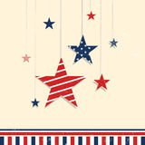 Greeting card for American Independence Day. 4th of July, American Independence Day celebration greeting card with hanging stars in national flag color Royalty Free Stock Photo