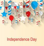 Greeting Card for American Independence Day, 4th of July, Colorful Bunting, Balloons and Confetti Stock Image