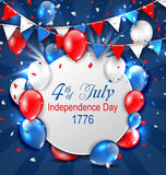 Greeting Card for American Independence Day, 4th of July, Colorful Bunting. Balloons and Confetti - Illustration Vector Stock Photos