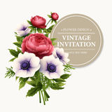 Greeting card with anemone and peony flower Royalty Free Stock Photography