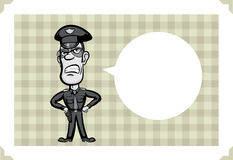 Greeting card with angry policeman Royalty Free Stock Images