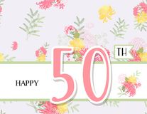 Greeting card for anniversary birthday. Flower composition to a celebratory event. Vector illustration Stock Photography