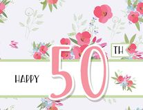 Greeting card for anniversary birthday. Flower composition to a celebratory event. Vector illustration Royalty Free Stock Photo