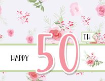 Greeting card for anniversary birthday. Flower composition to a celebratory event. Vector illustration Royalty Free Stock Images