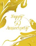 Greeting card for anniversary birthday. Marble composition to a celebratory event. Vector illustration Stock Photo