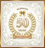 Greeting card with 50 anniversary. Golden 50th Wedding Anniversary Gift card Stock Illustration