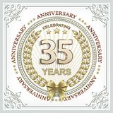 35 years jubilee in a gold laurel wreath. Greeting card anniversary 35 years old with ornament Royalty Free Stock Photography