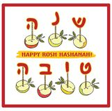 Greeting card with apples  for  Rosh Hashanah . Vector illustration `Happy New Year` Hebrew. Rosh Hashanah greeting card with apples  for jewish new year Stock Images