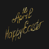 Greeting card 16 April, isolated calligraphy lettering, Happy Easter, word design template. Royalty Free Stock Image