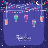 Greeting card with arabic lantern for Ramadan Kareem celebration Royalty Free Stock Photography