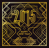 2015 Greeting Card. In Art Deco Gold Style stock illustration