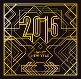 2016 Greeting Card. In Art Deco Gold Style Stock Images