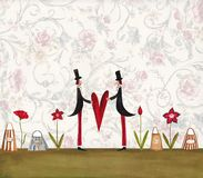 Greeting card. Artwork, ink and watercolors on paper Royalty Free Stock Photos