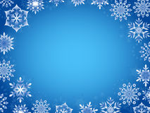 Greeting card with azure snowflakes. Around the perimeter, hand drawing vector illustration Royalty Free Stock Photography