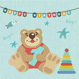 Greeting card for baby. Album. Child celebrated 1 year. Happy birthday. Colorful train carries toys, kindly and funny animals. Pig, teddy-bear, kitten. By train Royalty Free Stock Photos