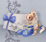 Greeting card for baby birth Royalty Free Stock Images