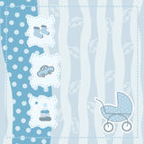 Greeting card for baby boy. Blue greeting card for baby boy royalty free illustration