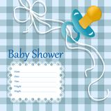 Greeting card for baby boy. checkered  background stock illustration